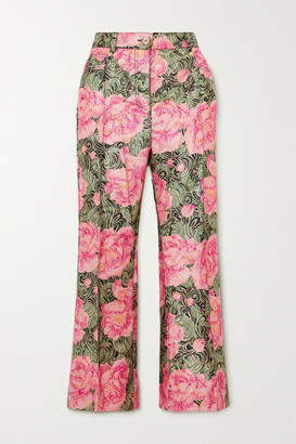 Paco Rabanne Cropped Metallic Floral-jacquard Straight-leg Pants - Pink