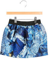 Junior Gaultier Girls' Metallic Denim Printed Skirt w/ Tags