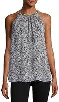 Joie Katella Embellished-Collar Sleeveless Top, Black