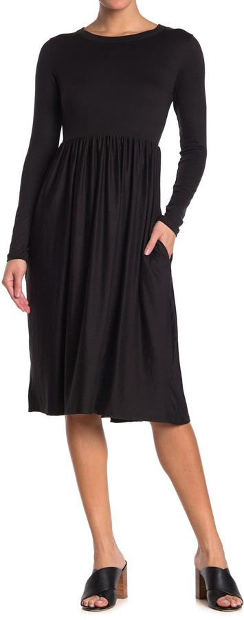 Velvet Torch Empire Waist Long Sleeve Midi Dress