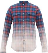 Balmain Logo-embroidered Faded-check Cotton Shirt - Mens - Red Multi