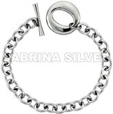 "Sabrina Silver Stainless Steel Cable Chain Bracelet for Men Large ""O"" Toggle Clasp 7/8 inch wide, 8.25 inch ling"
