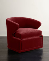 Horchow Dyna St. Clair Red Velvet Swivel Chair