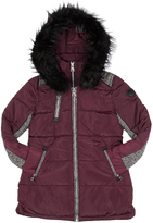 Point Zero Wine Contrast-Accent Hooded Ego Puffer Jacket