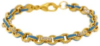 BUDDHA MAMA 20kt Yellow Gold, Sky Blue Enamel And Pave Diamond Link Bracelet