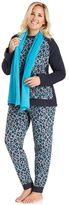 Cuddl Duds Plus Size Pajamas: Cozy Nights 3-Piece Pajama Set with Scarf