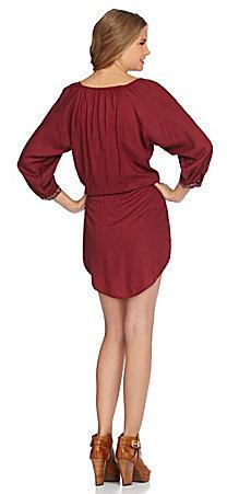 Angie Embroidered Challis Blouson Dress