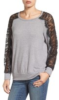 Bobeau Lace Detail Crewneck Sweater
