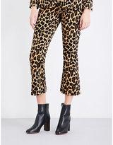 Frame Cheetah velvet kick-flare cropped trousers