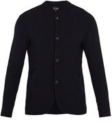 Giorgio Armani Mandarin-collar waffle-knit cardigan