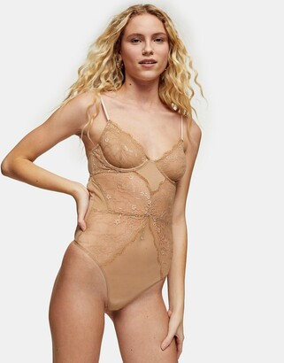 Topshop underwire lace body in tan