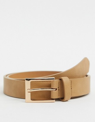 ASOS DESIGN Wedding slim belt in light tan faux leather with gold buckle
