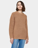 Shaker Knit Boyfriend Sweater in Camel