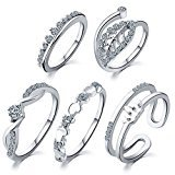 5 pcs /set Peach heart leaves crown suit ring Set (Silver)