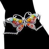 Sterling Silver Multicolor Millefiori Open Butterfly Link Bracelet with CZ by Alan K