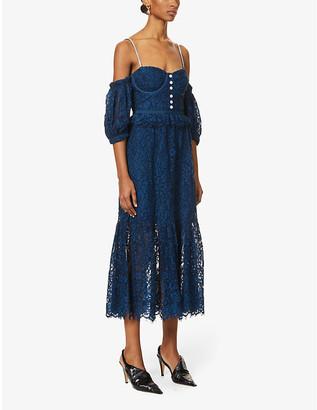 Self-Portrait Off-the-shoulder cotton-blend lace midi dress