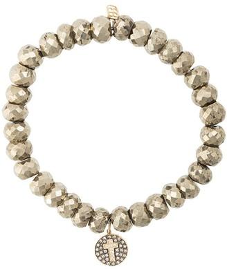 Sydney Evan 14kt Gold Diamond Cross Disc Charm Bracelet
