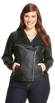 Ava & Viv Women's Plus Size Faux Leather Moto Jacket Black