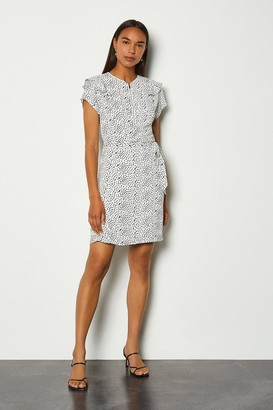 Karen Millen Graphic Spot Ruffle Short Dress