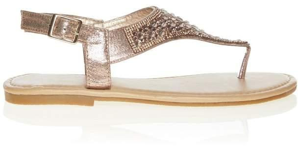 37Gold 4eu Diamante Uk Flat Sandals hBstrdCoQx