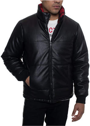 Sean John Men Faux Leather Quilted Puffer Hipster Jacket with Buffalo Plaid Fleece Collar Trim