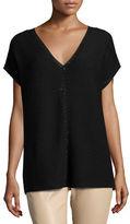 Lafayette 148 New York Short-Sleeve Sequin-Trim V-Neck Sweater