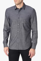 7 For All Mankind Long Sleeve Micro Stripe Shirt In Navy Stripe