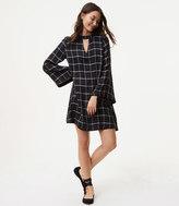 LOFT Petite Windowpane Choker Dress