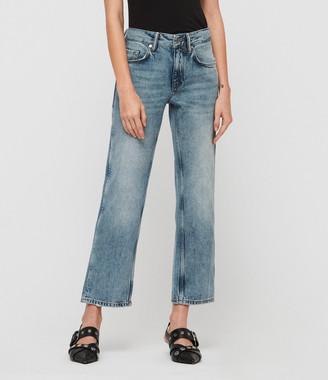 AllSaints Alana Boyfriend Low-Rise Jeans, Light Indigo Blue