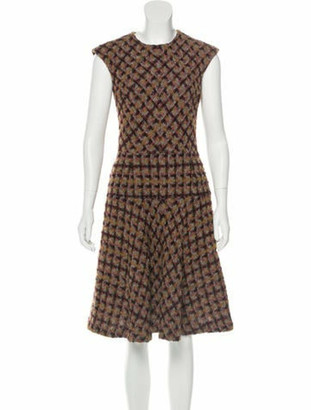 Oscar de la Renta Wool-Blend Knee-Length Dress Plum