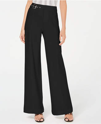 INC International Concepts Inc Petite Side-Belt Wide-Leg Pants