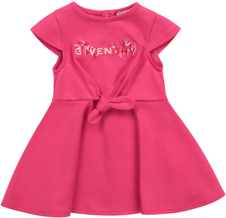 Givenchy Girl's Logo Embroidered Cap-Sleeve Bow Dress, Size 12M-3