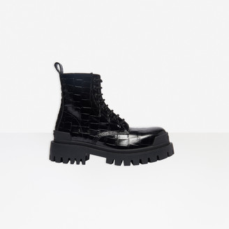 Balenciaga Strike 20mm Lace-up Boot in black crocodile embossed calfskin
