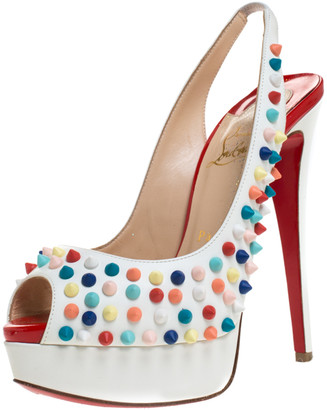 Christian Louboutin White Leather Lady Peep Multicolor Spikes Slingback Sandals Size 37