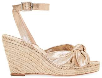 Loeffler Randall Tessa Bow Leather Espadrille Wedge Sandals