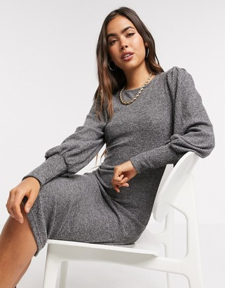 Y.A.S knitted midi dress with high neck in grey