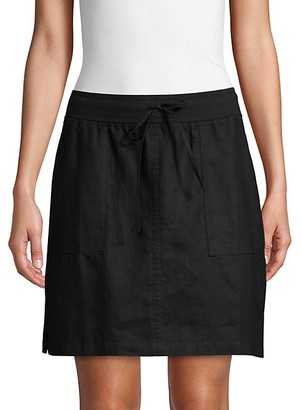 Pure Navy A-Line Linen Skirt