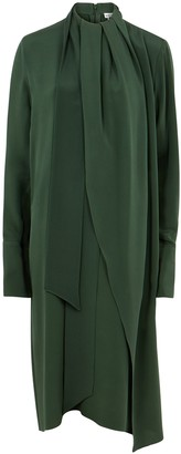 Loewe Lavalliere green silk crepe de chine dress