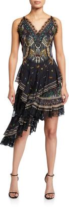 Camilla Layered-Silk Asymmetric Dress
