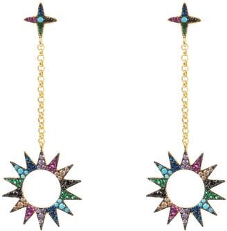 Latelita Sun Day & Night Drop Earrings Multi Coloured Gold