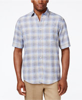 Tasso Elba Men's Big and Tall Linen Plaid Short-Sleeve Shirt, Classic Fit