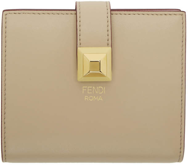 Fendi Beige and Pink Single Stud Compact Wallet
