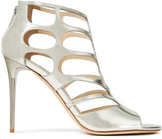 Jimmy Choo Ren 100 Cutout Metallic Leather Sandals