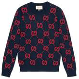 Gucci Wool knit sweater with bat embroidery