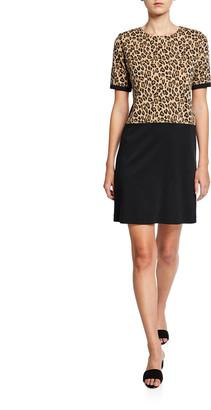 Joan Vass Petite Colorblock Leopard Print Short-Sleeve Cotton Dress