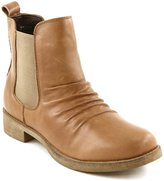 Comfortiya Women's Carissa Beige Leather Casual Low Heel Pleated Chelsea Ankle Boot Size 37 M EU / 6.5 M US