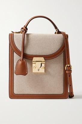 Mark Cross Uptown Textured Leather-trimmed Canvas Shoulder Bag - Beige