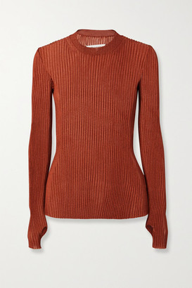 Maison Margiela Metallic Ribbed-knit Sweater - Copper