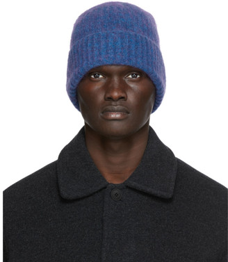 Schnaydermans Blue and Purple Mohair Seamless Rib Beanie