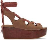 See by Chloe Brown Suede Lianna Flatform Sandals